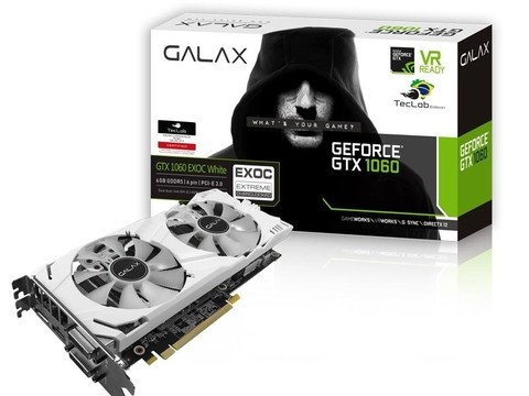Placa de Video GEFORCE GALAX GTX ENTUSIASTA NVIDIA GTX 1060 EXOC WHITE TEC LAB 6GB DDR5 192BIT 8008MHZ 1620MHZ 1280 CUDA CORES DVI HDMI DP