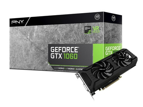 Placa de Video GEFORCE PNY GTX ENTUSIASTA NVIDIA GTX 1060 6GB 192BIT 8000MHZ 1708MHZ 1280 CUDA CORES DVI HDMI DP
