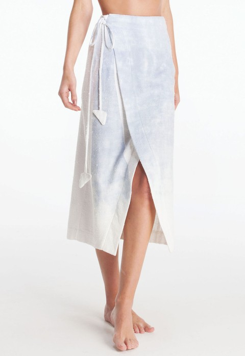 INDIGO STAMP WRAP SKIRT