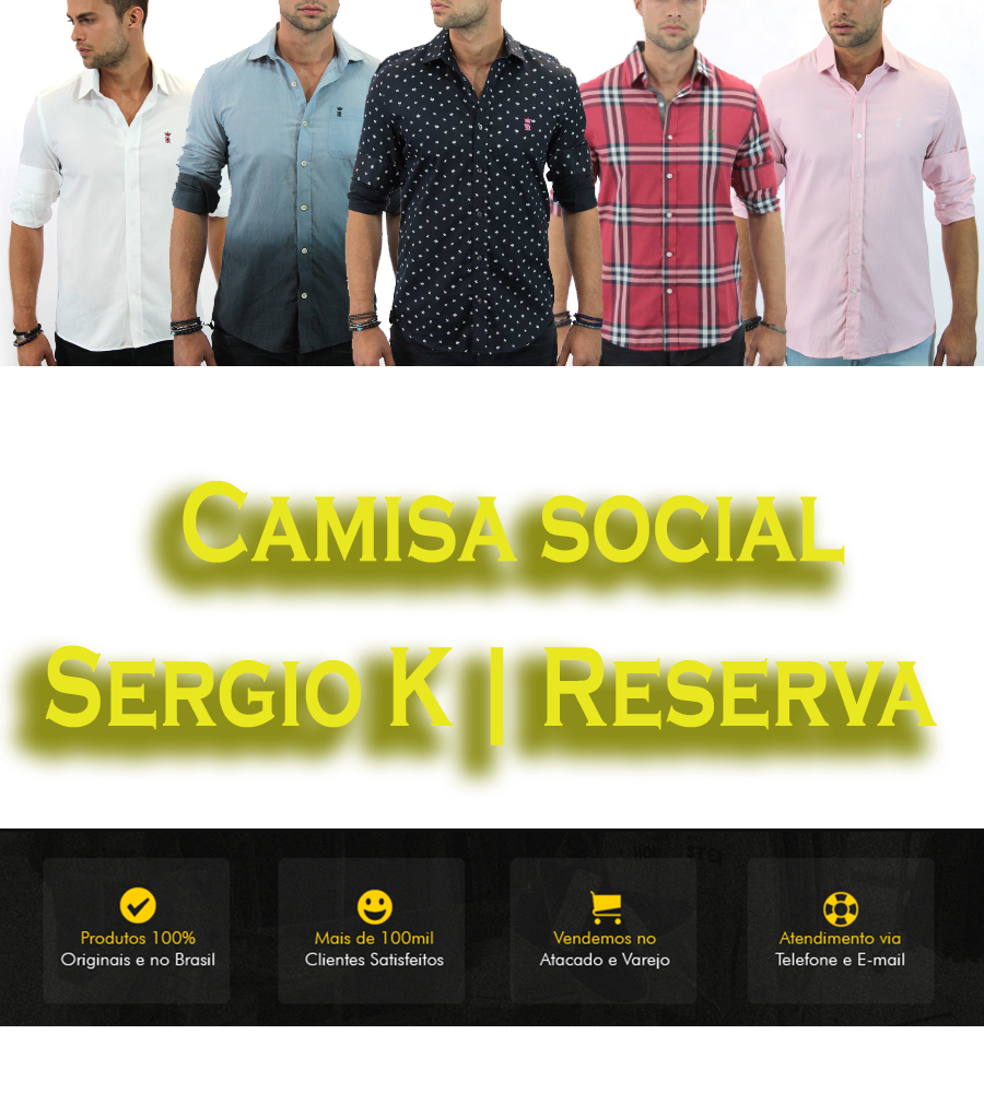 1844de5a3c0 CAMISA SERGIO K XADREZ MARINHO RESERVA CASUAL SOCIAL XADREZ LISTRADA ...