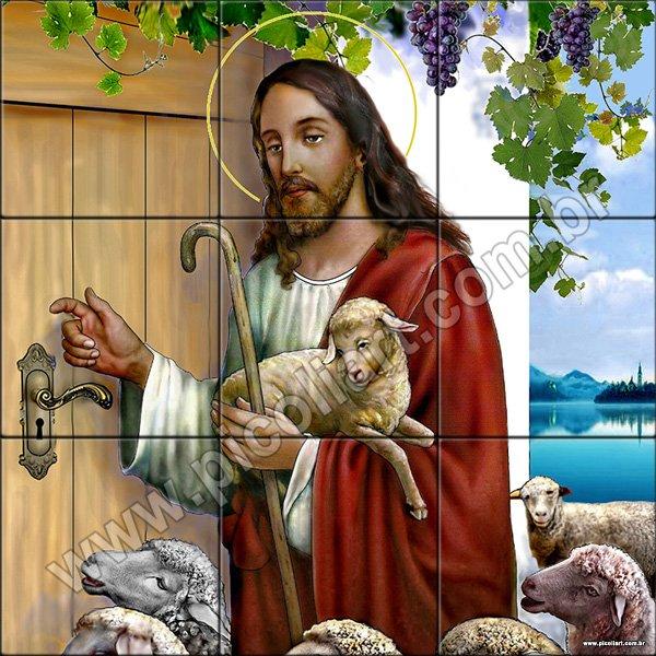 Jesus batendo na porta em azulejos de 15x15cm for Jesus a porta