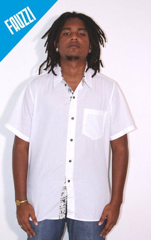 Camisa Social Manga Curta ( tricoline lisa com detalhes )