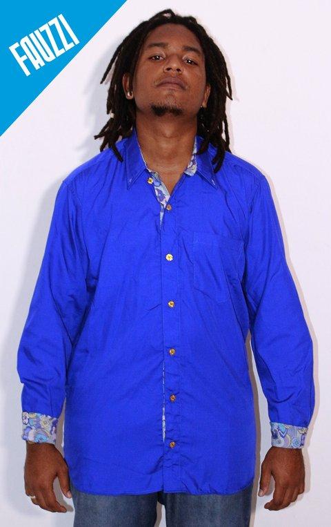 Camisa Social Manga Longa AZUL ROYAL ( tricoline lisa com detalhes )