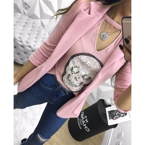 Tee chocker - caveira mini rose
