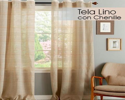 juego de cortinas lino con chenille comprar online