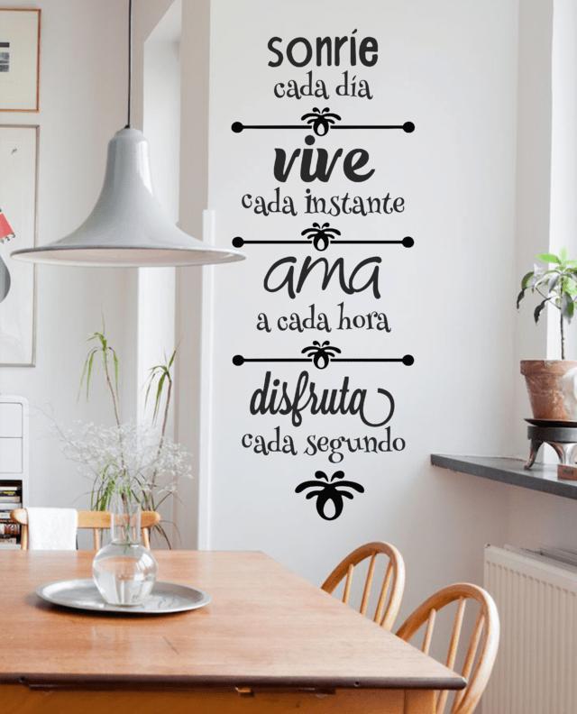 Vinilo decorativo frase vive rie ama disfruta - Los mejores vinilos decorativos ...