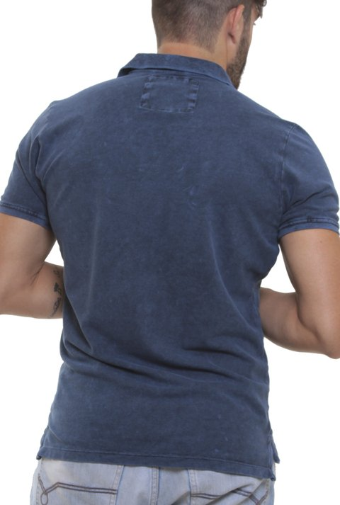 Polo Stone Wash Marmorizada Dark Blue na internet