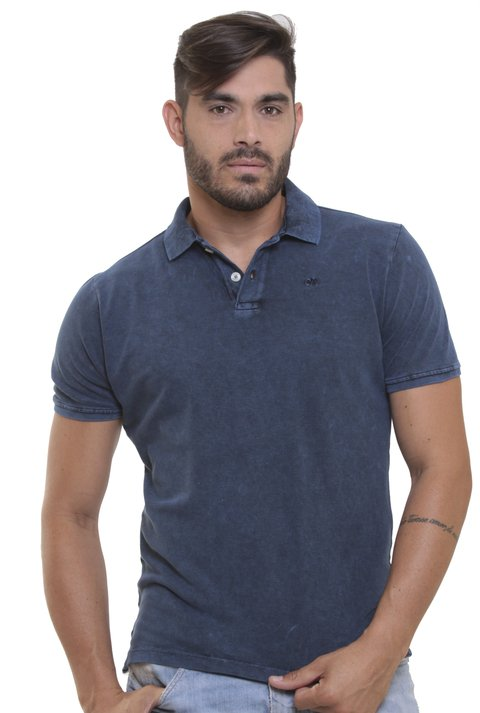 Polo Stone Wash Marmorizada Dark Blue