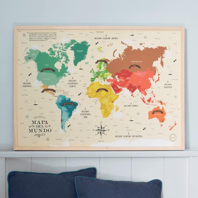 Mapamundi en Lienzo 50x70cm - Punto Eme Arte Impreso