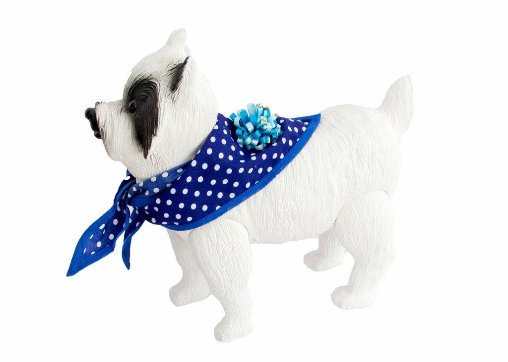 Bandana Triangular para Cachorro de Pequeno Porte Azul Bolinha