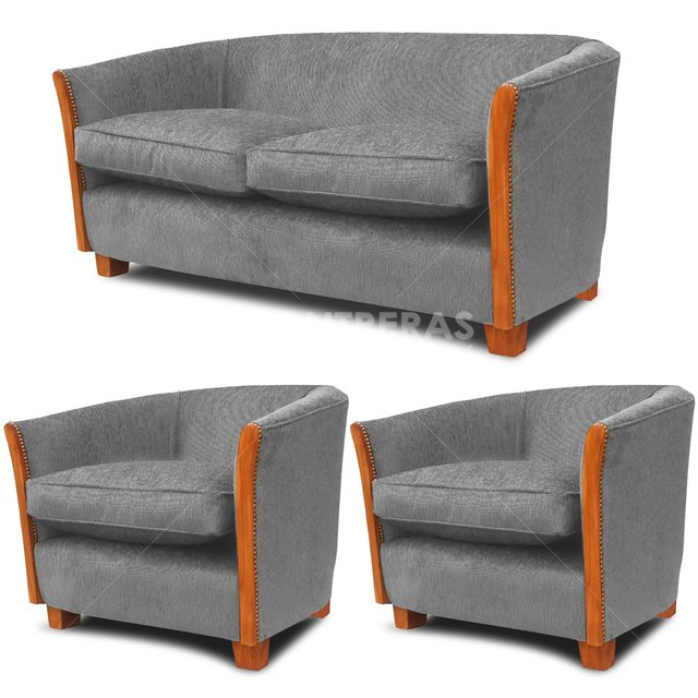 combo juego de living sofa 2 cuerpos 2 ind modelo canasto - Living Moderno