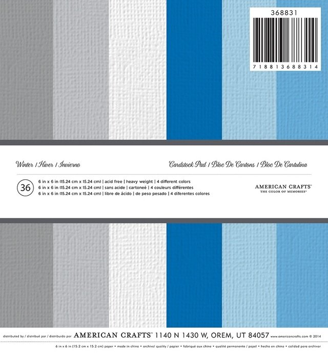 AMERICAN CRAFTS - PATTERNED - PB - WINTER - 6 X 6 - 36 SHEETS ...