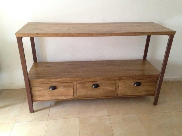 tv, modular, rack, madera y hierro