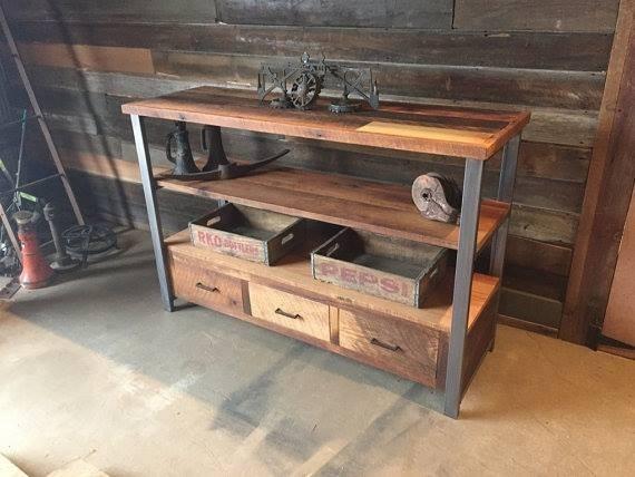 Mueble Tv  Arrime Madera reciclada y hierro en internet