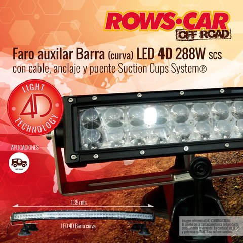 Faro Auxilar LED 4D 288W - LIGHT 4D TECHNOLOGY con puente SCS (Suction Cups System®)