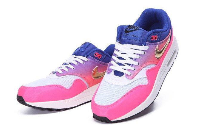 22fbb8ee998 Nike Air Max 87 - Rosa e Azul com Branco e Dourado