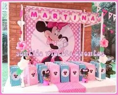 Candy Bar Fondo Temático Minnie Mickey Batman Kitty Pepe - Sentido violeta Tienda de Fiestas