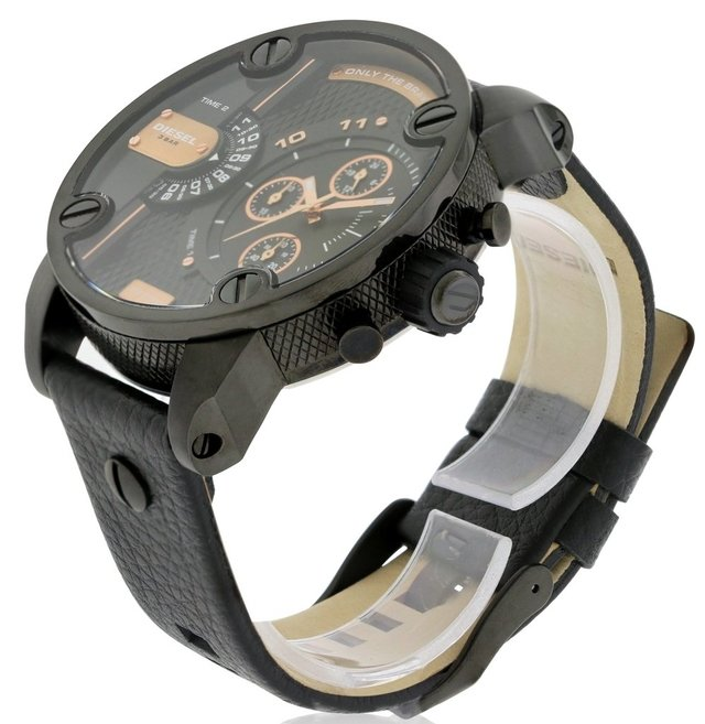 DIESEL Little Daddy Dual Time Chronograph Black Dial Leather Men's Watch Modelo - DZ7291 - comprar online