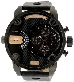 DIESEL Little Daddy Dual Time Chronograph Black Dial Leather Men's Watch Modelo - DZ7291