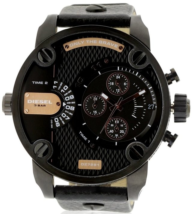 DIESEL Little Daddy Dual Time Chronograph Black Dial Leather Men's Watch Modelo - DZ7291 en internet