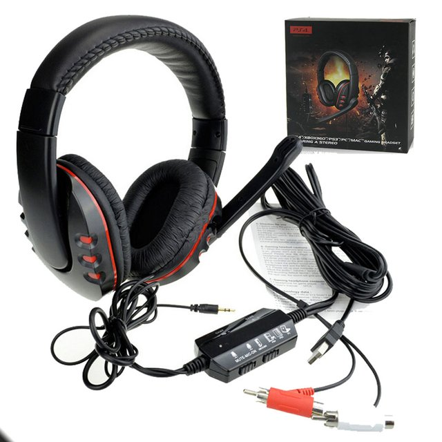 Headset com fio e microfone para PS4/PS3/Wii/XBOX360/PC/ Communicador via Chat - comprar online