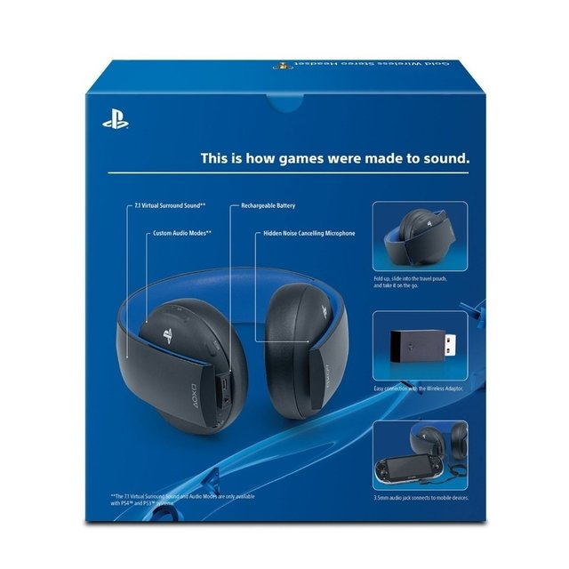 Headset Sony Wireless Stereo Gold - Ps3, Ps4 E Ps Vita - tienda online