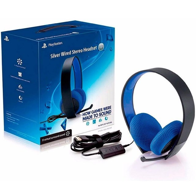 Headset Wired Stereo Silver 7.1 Com Fio Ps4 - Sony - tienda online