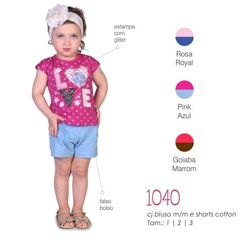 1040 - CJ FEM IDEAL BLUSA M/M E SHORTS COTTON 123