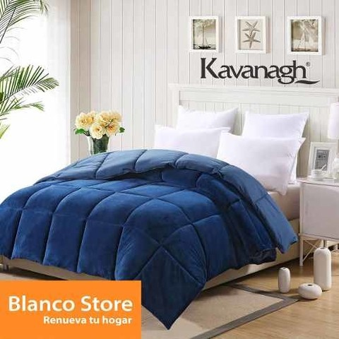 Acolchado Soft Super King Reversible Flannel Liso Azul