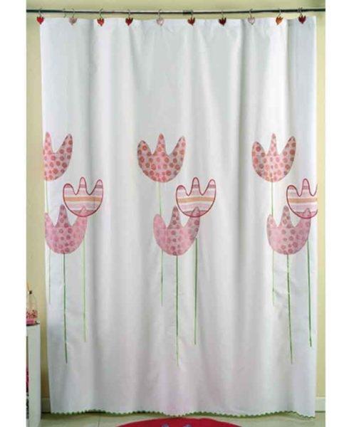 Cortina de ba o tela 100 poli ster amalfi tulipan - Telas para cortinas de bano ...