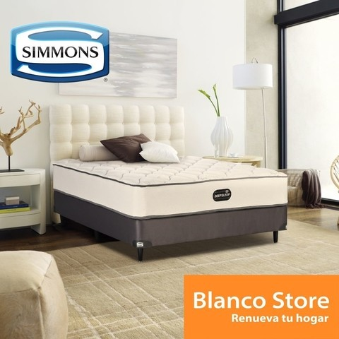 SOMMIER Y COLCHON QUEEN 2 1/2 P SIMMONS DEEPSLEEP