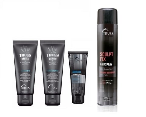 Truss For Men Barber & Mustache Shampoo 100ml + Condic 100ml + Acqua Gel 180g + Sculpt Fix 500ml