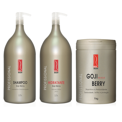 Kit Red Iron Goji Berry Shampoo 2,5L + Hidratante Goji Berry 2,5L + Máscara Nutritiva Goji Berry 1Kg