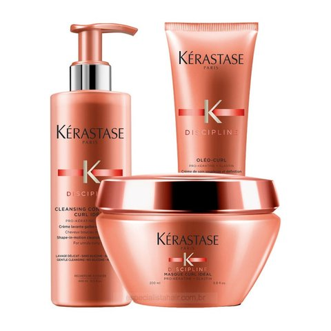 Kit Kerastase Discipline Curl Ideal Condicionador 400ml + Máscara 200ml + Leave-in 150ml