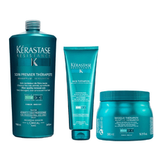 Kit Kerastase Therapiste Shampoo 450ml + Máscara 500ml + Soin Premier Condicionador 1000ml