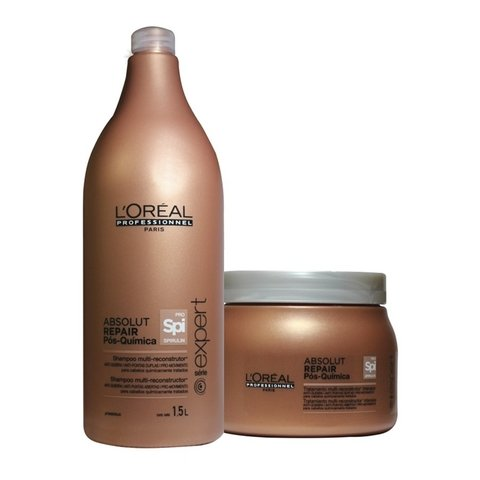 Kit Loreal Professionnel Abslout Repair Pós Quimica Shampoo 1500ml + Máscara 500g
