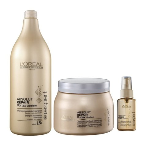 Kit Loreal Absolut Repair Shampoo 1500ml + Mascara 500ml + Serum 50ml
