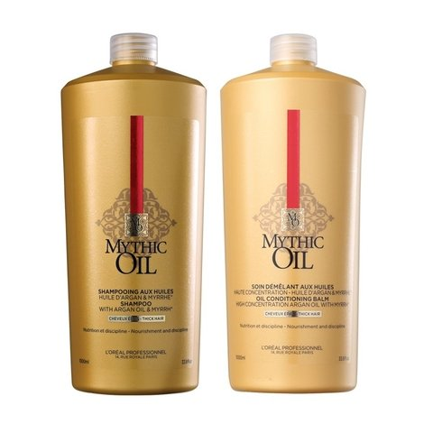 Kit Loreal Professionnel Mythic Oil Shampoo 1000ml + Condicionador 1000ml