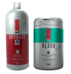 Kit Red Iron Blond Free Style Pó Descolorante Extra Forte 400g + Red Iron Ox 30 Vol. 900ml