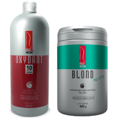 Kit Red Iron Blond Free Style Pó Descolorante Extra Forte 400g + Red Iron Ox 10 Vol. 900ml