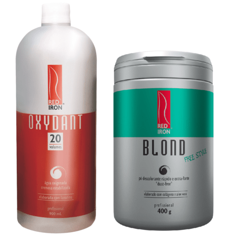 Kit Red Iron Blond Free Style Pó Descolorante Extra Forte 400g + Red Iron Ox 20 Vol. 900ml
