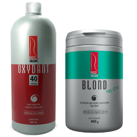 Kit Red Iron Blond Free Style Pó Descolorante Extra Forte 400g + Red Iron Ox 40 Vol. 900ml