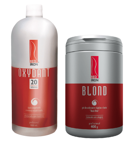 Kit Red Iron Blond Pó Descolorante Forte 400g + Red Iron Ox 20 Vol. 900ml