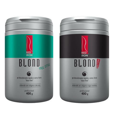 Kit Red Iron Blond Pó Descolorante Free Style 400g + Blond Extreme 400g