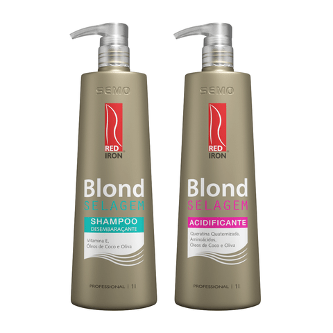 Kit Red Iron Blond Selagem Shampooo Desembaraçante 1000ml + Acidificante 1000ml