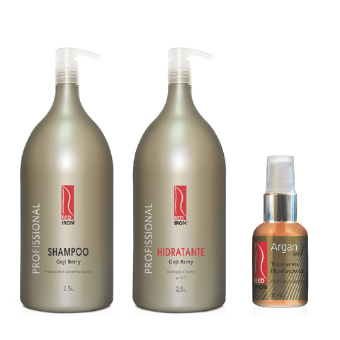 Kit Red Iron Goji Berry Shampoo 2,5L + Hidratante Goji Berry 2,5L + Cristal Oil Argan 30ml
