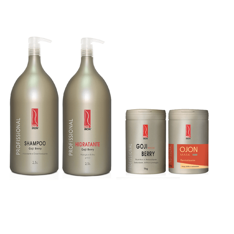 Kit Red Iron Goji Berry Shampoo e Hidratante 2,5L + Ojon Máscara 1Kg + Máscara Goji Berry 1Kg