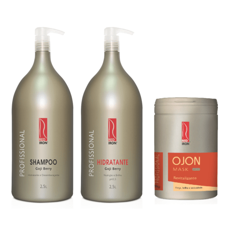 Kit Red Iron Goji Berry Shampoo 2,5L + Hidratante Goji Berry 2,5L + Ojon Máscara Revitalizante 1Kg
