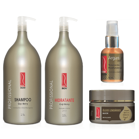 Kit Red Iron Goji Berry Shampoo 2,5L + Hidratante 2,5L + Óleos Lendários Mask 300g + Oil Argan 30ml