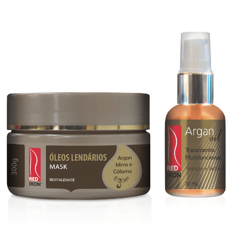 Red Iron Óleos Lendários Mask 300g + Red Iron Cristal Oil Argan 30ml